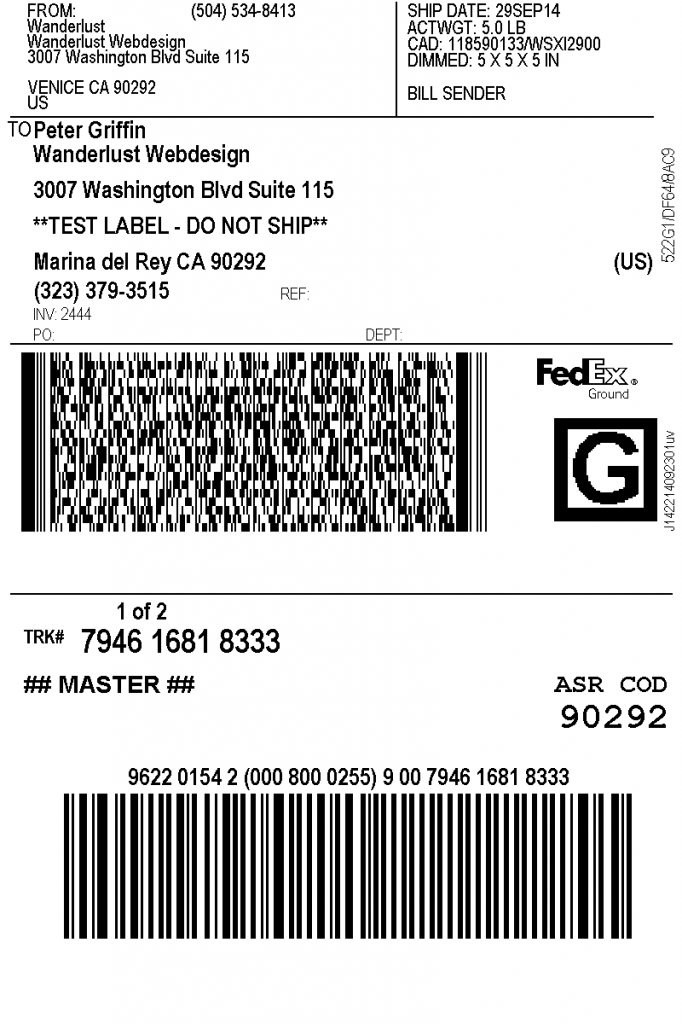 print fedex shipping labels - woocommerce plugin