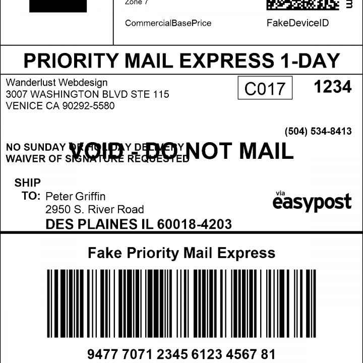 USPS FedEx UPS DHL Shipping Labels WooCommerce - Fake shipping label template