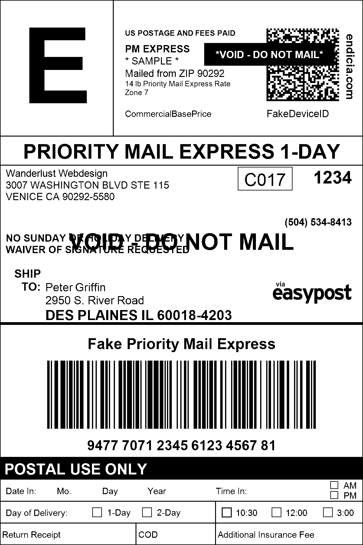 USPS FedEx UPS DHL Shipping Labels WooCommerce - Package mailing label template