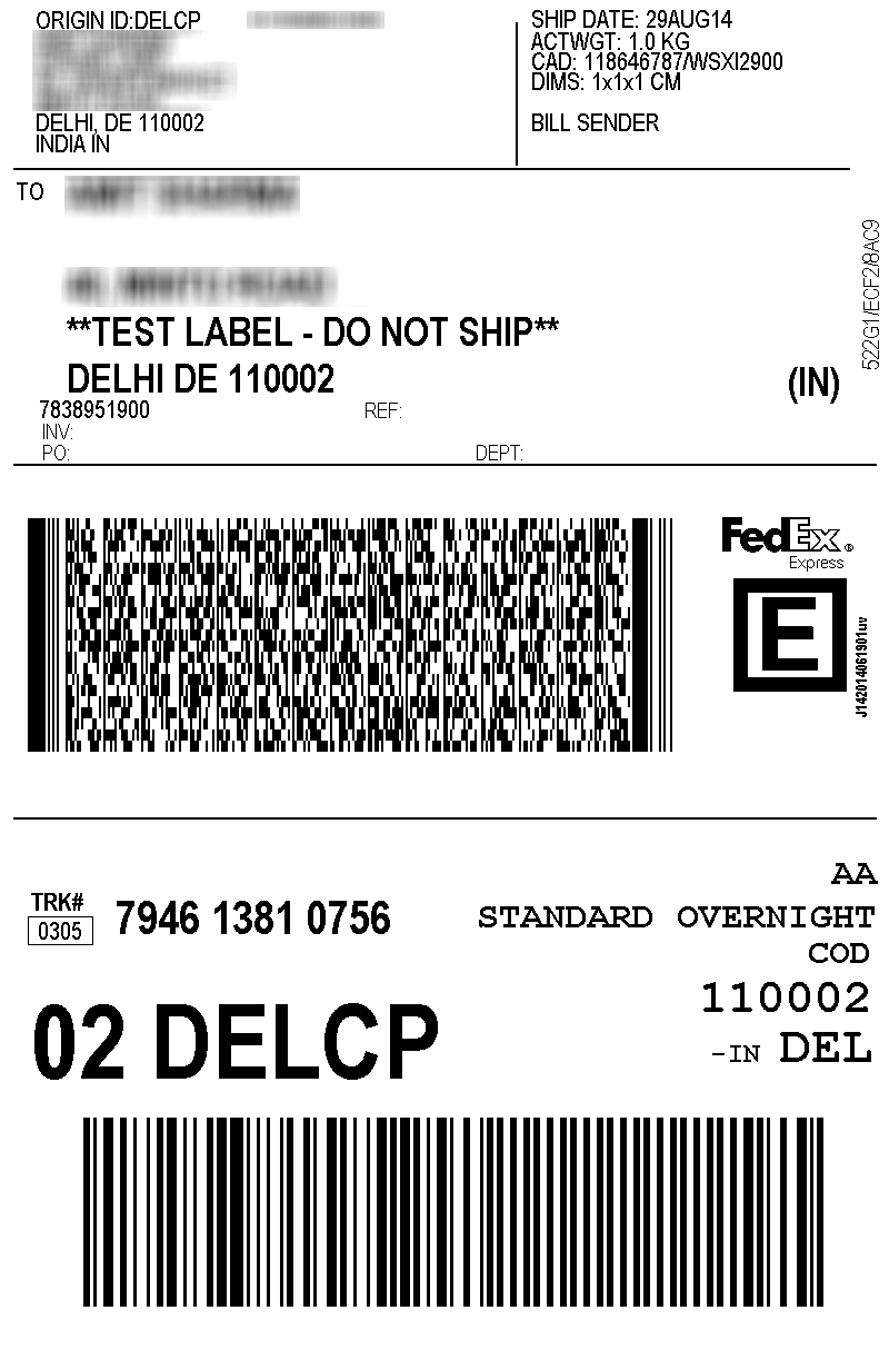 print fedex shipping labels for india