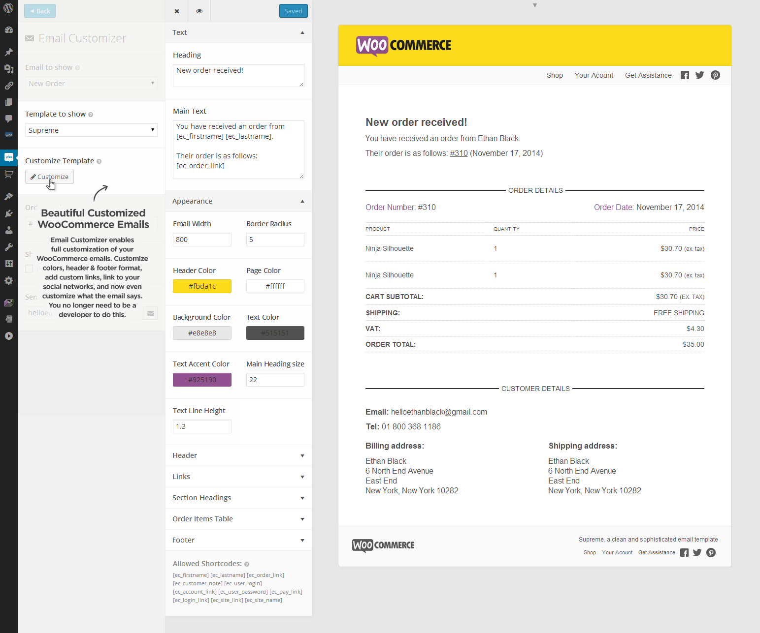 email customizer for woocommerce wanderlust web design. Black Bedroom Furniture Sets. Home Design Ideas